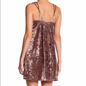 Lush mauve velvet mini dress XL new